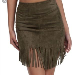 Windsor Army Green Skirt with Fringe